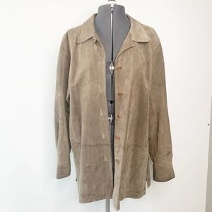 GAP Brown Sueded Leather Button Front Shirt M